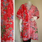 Pink 2 Tone Mixed Flowers Kimono Thai Batik Wedding Short Bath Robe S - L (R60)