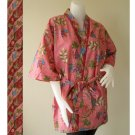 Classic Pink Thai Floral Batik Short Crossover Robe Kimono Wedding Bath Robe S-L (R50)