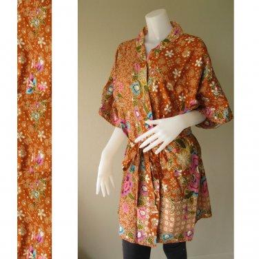 Brown Floral Thai Batik Cotton Short Kimono Bridesmaid Wedding Bath Long Robe S - L (R44)