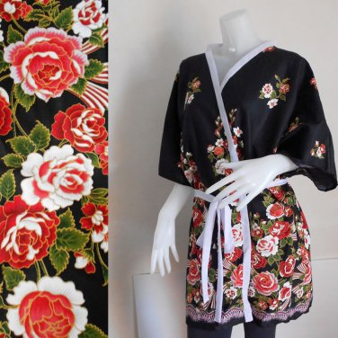 Red flowers on Black Batik short kimono Bridesmaid Robe  R37