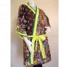 Short Sleeved Robe  Brown Floral Thai Batik Cotton Kimono  Bath Robe S-L (R12)