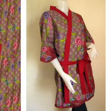 Short Brown batik cotton bridesmaid  kimono  Robe 13