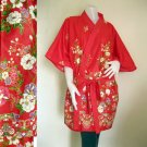 Red batik cotton short kimono bridesmaid Robe  R09