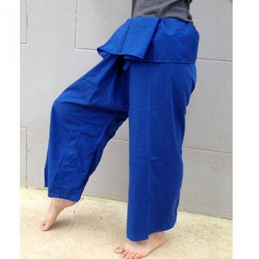 Hippie gypsy blue cotton Thai fisherman pants,spa pants wrap pants (N49)