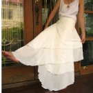 Cream cotton Hippie Gypsy Two Layers Circle Long Wrap Skirt S-L (CR 9)