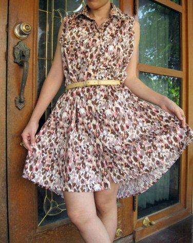 Chic tunic figure Brown Cotton Boho Short Tunic Dress S-M ( P19)