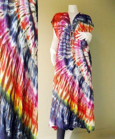 New Abstract TIE DYE Cotton Beach Gypsy Handmade maxi Kimono dress (T07)