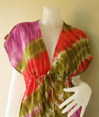 New Japanese Shibori Gypsy Hipping Colorful TIE DYE Cotton maxi Kimono Dress S-L (T14)