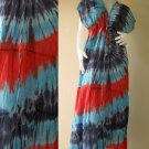 New Tropical Red,Blue ,Yellow TIE DYE Cotton Kimono Handmade Casual long dress S-L (T12)
