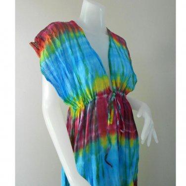 Free shipping  New Tropical Summer  Tie Dye Cotton Boho Hippie V-Neck Long Kimono TD329