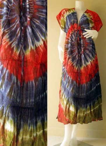 Free shipping  New Tropical Summer  Tie Dye Cotton Boho Hippie V-Neck Long Kimono TD336