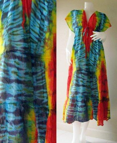 0 New Tropical Tie Dye Cotton -Beach Handmade Long Kimono Women Summer Dress S-L (T27)