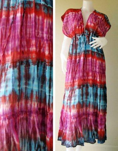 Fre shipping  Colorful Tie dye coton Boho Hippie New Tropical  Kimono Women Summer Dress S-L (T22)