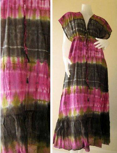 Free shipping  New Tropical Summer  Tie Dye Cotton Boho Hippie V-Neck Long Kimono T23