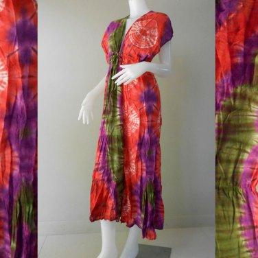 Free shipping Colorful Tie Dye Cotton Boho Hippie Long Kimono Women Summer Dress (TD300)