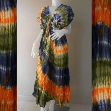 Free shipping New Tropical Colorful Tie Dye Cotton long kimono maxi dress (TD 80)