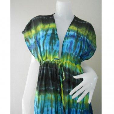 Free shipping  New Tropical Summer  Tie Dye Cotton Boho Hippie V-Neck Long Kimono TD460