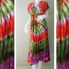 Free shipping Tropical Colorful Tie Dye Cotton  Long Kimono Women Summer Dress (TD306)