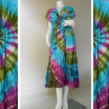 Free shipping New Tropical Colorful Tie Dye Cotton Boho Hippie Long Kimono Summer Dress TD348
