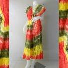 Free shipping New Tropical Colorful Tie Dye Cotton Long Kimono Summer Dress ( TD326)