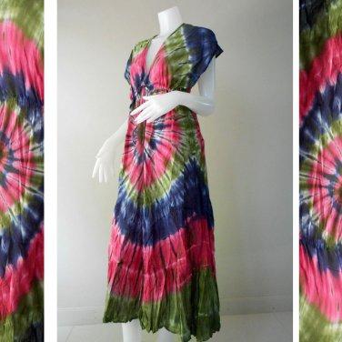 New Tropical Colorful Tie Dye Cotton Boho Hippie V-Neck Long Kimono Women Summer Dress(TD318)