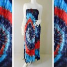 Free shipping 2 in 1 Boho Hippie Summer Tie Dye Smock Tube Dress /Skirt (TD98)