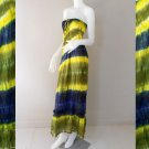 Free Shipping Colorful Tie-Dye Smocked Boho Beach Sun Summer Maxi Dress/Skirt (TD94)