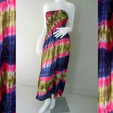 Free Shipping Hippie Gypsy Tie Dye Cotton Summer Long Smock Maxi Dress/skirt (TD 88)