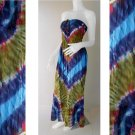 Free Shipping Colorful  Hippie Gypsy Tie Dye Cotton Summer Long Smock Maxi Dress/skirt (TD 86)