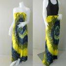 Free Shipping 2 in 1 Boho Hippie tie dye cotton smock tube dress maxi long skirt (TD 74)