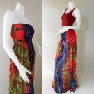 Free Shipping  Tie Dye Summer Long Smock Dress V Neck Halter Maxi /Skirt(Smock 430)
