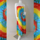 Free Shipping    Tie Dye Cotton Summer Long Smock Dress V Neck Halter/Skirt (Smock 428)