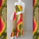 Free Shipping Tie Dye Cotton  Summer Sexy Long Smock Dress V Neck Halter/Skirt(Smock 426)