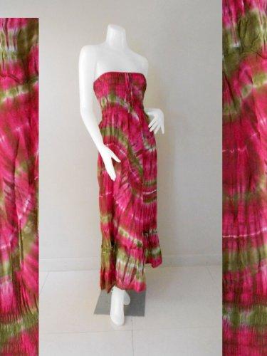 Free Shipping 2 in 1 Boho Hippie tie dye cotton smock tube dress maxi long skirt (Smock 424)