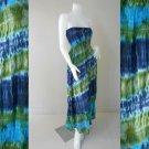 Free Shipping Tie Dye Summer Long Smock Dress V Neck Halter Maxi /Skirt(Smock 418)