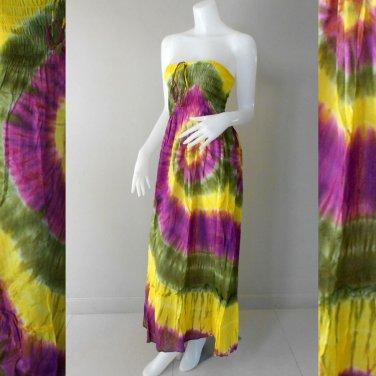 Free Shipping Tie Dye Cotton Summer Long Smock Dress V Neck Halter/Skirt(Smock 416)