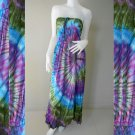 Free Shipping Tie Dye Summer Long Smock Dress V Neck Halter Maxi /Skirt(Smock 412)