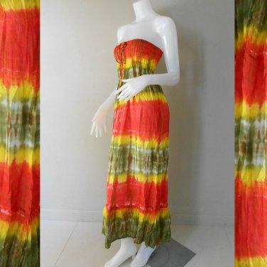 Free Shipping   Tie Dye Cotton  Summer Long Smock Dress V Neck Halter Black (Smock 410)