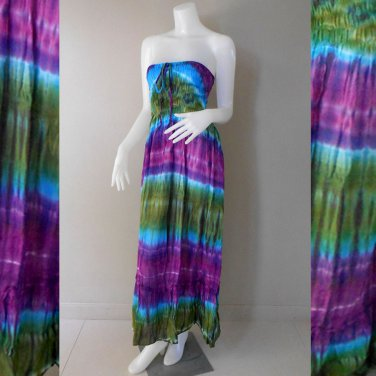 Free Shipping Free Shipping Tie Dye Summer Long Smock Dress V Neck Halter Maxi /Skirt (Smock 403)