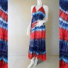 Long Angled Hem Halter Tied Tie Dye Ladies Summer Cotton Dress (DMS366)