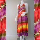 Hippie Gypsy Tie Dye Cotton Long Summer Halter Back Smock Maxi Dress ( DMS362)