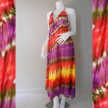 Hippie Gypsy Tie Dye Cotton Long Summer Halter Back Smock Maxi Dress ( DMS362)