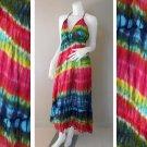 Tie Dye Cotton Summer Long Smock Halter Dress (DMS360)