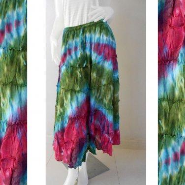 Women New Long Tie Dye Cotton Elastic Waist Gypsy Summer Skirt S-L (TD 164)