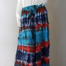 plus Size Long Tie Dye Cotton Maxi Ruffled Elastic Waist Skirt (TD 160)