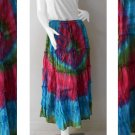 Hippie Tie dye Cotton Elastic waist Ruffle Skirt Maxi Dress S-L (TD 154)