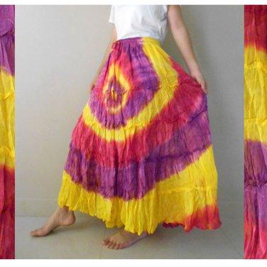 Free Shipping New Tropical Elastic Waist Long Tie dye Cotton Summer Maxi Skirt (EL04)