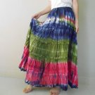 Free ShippingHippie Gypsy Tie dye Cotton Patchwork Long Elastic waist Ruffle Skirt (EL 02)