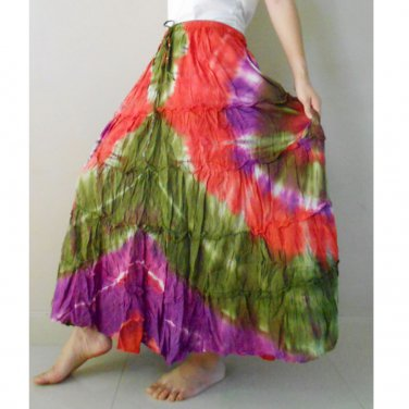 Free shipping  New Tropical Summer  Tie Dye Cotton Boho Elastic Waist Long Skirt (EL 01)