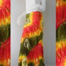 Boho hippie Thai tie dye cotton long ruffle summer casual wrap skirt S-L(TD 40)